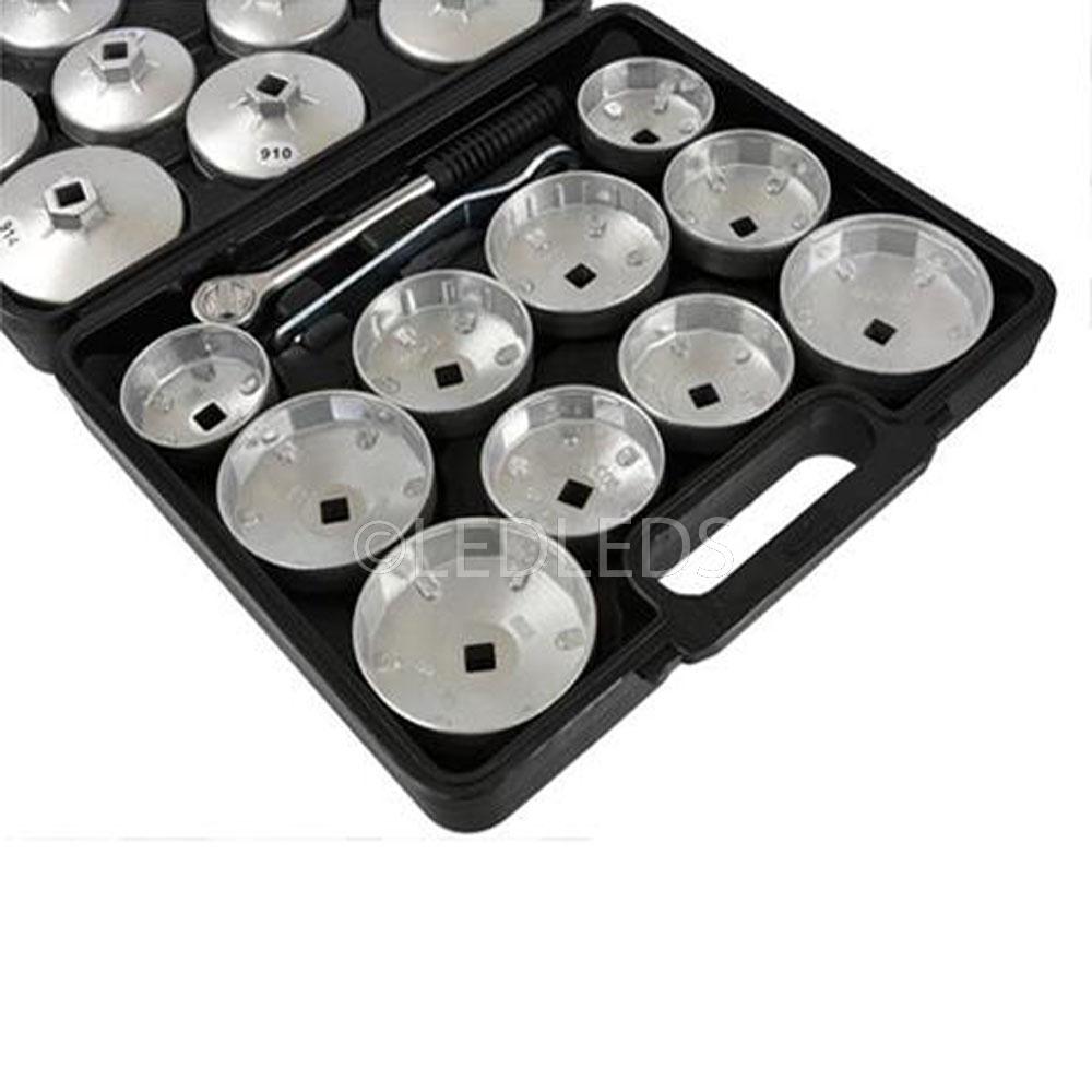 23pcs Set di prese per tazza di chiavi per rimozione veicoli per auto professionali Set di chiavi per cambio di filtri olio in alluminio Accessori per auto argento