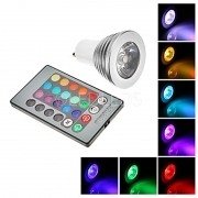 FARO RGB LAMPADA FARETTO GU10 MULTICOLORE 3W LED TELECOMANDO CROMOTERAPIA COLOR