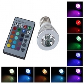 FARO RGB LAMPADA FARETTO e27 MULTICOLORE 3W LED TELECOMANDO CROMOTERAPIA COLOR