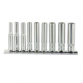 SET CHIAVI BUSSOLA 9 PEZZI BUSSOLE CANDELE LUNGHE 1/4 CHROME VANADIUM 5-13MM